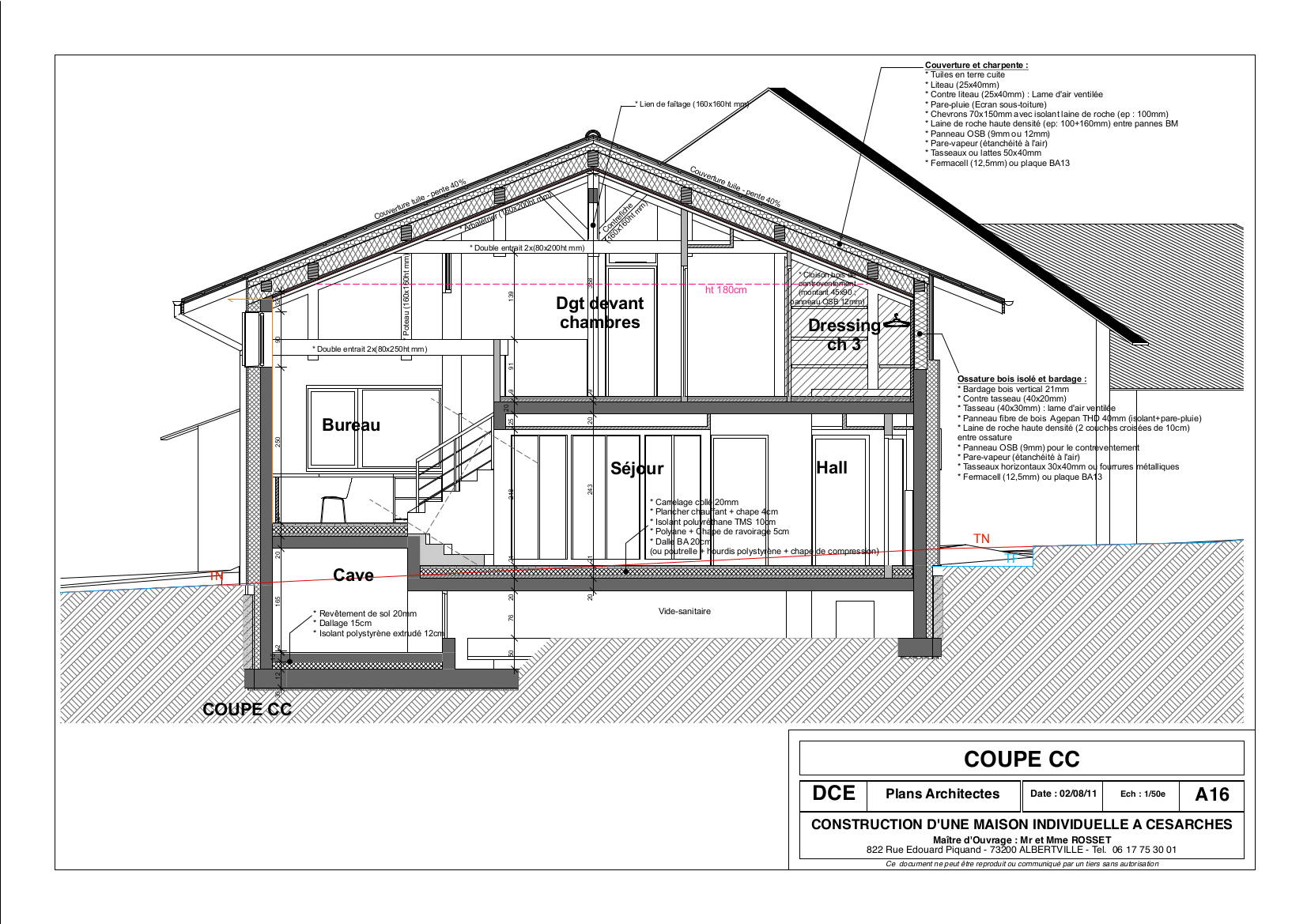 Maisons chalets aur lie rosset architecte moutiers for Plan de coupe de maison